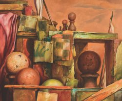 Painting by Samuel Bak. Depicts chess pawns of various sizes and hanging fragments of chessboard squares.