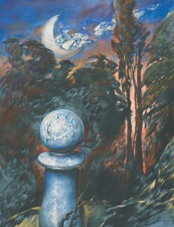 Painting by Samuel Bak. Depicts large chess pawn in foreground with crumbling moon in background sky.