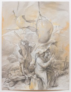 by Samuel Bak. Depicts Adam and Eve with a magnifying glass, telescope and eaten pear representing forbidden fruit.