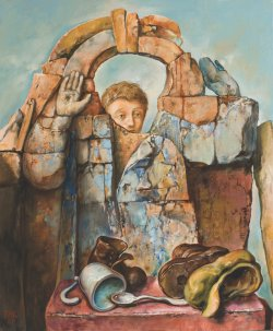 Painting by Samuel Bak. Depicts a boy, cup, spoon and shoes. Evokes the famous Warsaw Ghetto Boy photo.