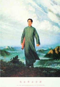 Illustration of Mao Ze-dong on his way to Anyuan.