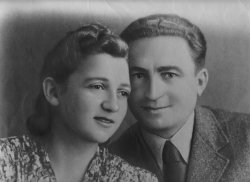 Portrait of partisan Sonia Orbuch with her husband.
