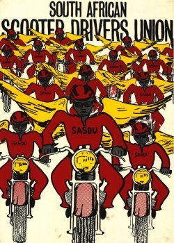"""Illusration on poster depicts men on motorcyles with shirts reading """"SASDU"""" and gold wings."""