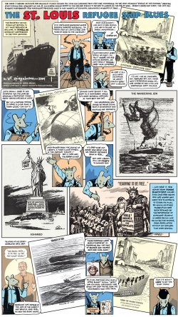"""Contemporary cartoon from the Washington Post commemorating 70 years since the transatlantic liner """"The St. Louis"""" was denied entry to Cuba and the United States."""