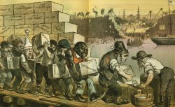 Political cartoon showing caricatures of men building a wall.