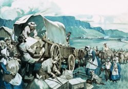 A caravan of covered wagons and oxen with men, women, and children loading supplies onto a wagon