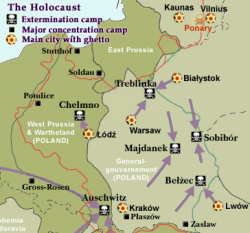 Major Death Camps, Concentration Camps, and Ghettos in Eastern