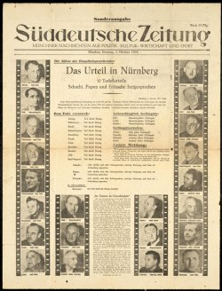 A special edition of a German Newspaper announcing the pronouncement of sentences at the International Military tribunal in Nuremberg, Germany.