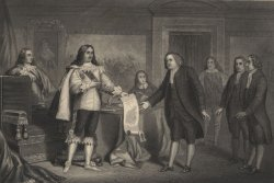 Illustration of Charles II granting land to William Penn in 1681.