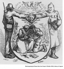 """Man with patch labeled """"White League"""" shaking hands with KKK member over shield illustrated with skull and crossbones and African American couple holding baby. In background, man hanging from tree."""