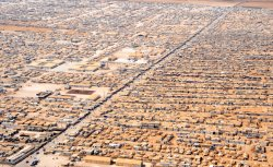 Aerial view of the Za'atri refugee camp in Jordan near the Syrian border.