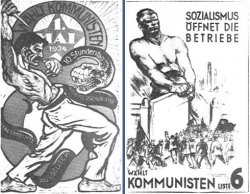 Two posters side by side. Both are on white paper with black ink. The first one features a man with a knife fighting a giant snake. The other poster shows a giant man pulling open a gate to free a large crowd of people holding flags.