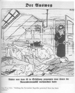 A cartoon from antisemitic newspaper Der Stürmer of an officer walks into a small apartment where a family has died.