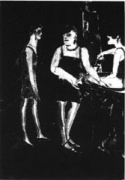 A very dark painting featuring three masculine figures in dresses.