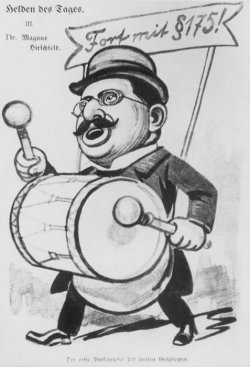 Cartoon of Dr. Magnus Hirschfeld marching and beating a large drum
