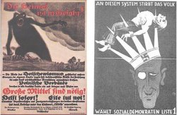 Two posters side by side. One is on reddish paper and features a giant black monster attacking people on a field. The other is on dark paper with white text. It features a man wearing a crown with large spikes that has a swastika on it. A man's body has been run through by the spikes.