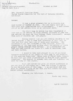 Typewritten letter from Walter Goldberg, inmate of French detention camp, to Martha Sharp, dated 1940.
