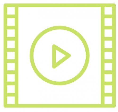 "Green and white rendering of a film strip with a ""play"" button symbol."