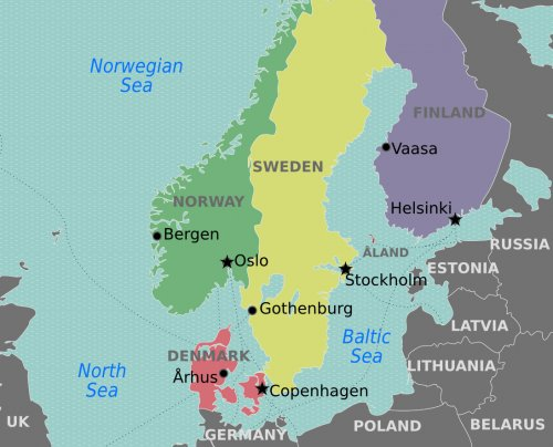 A map of Denmark, Norway, Finland and Sweden