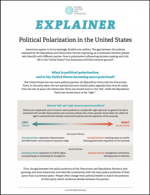"""Classroom handout titled """"Explainer: Political Polarization in the United States""""."""