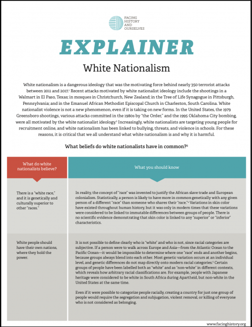 "Classroom handout titled ""Explainer: White Nationalism"""