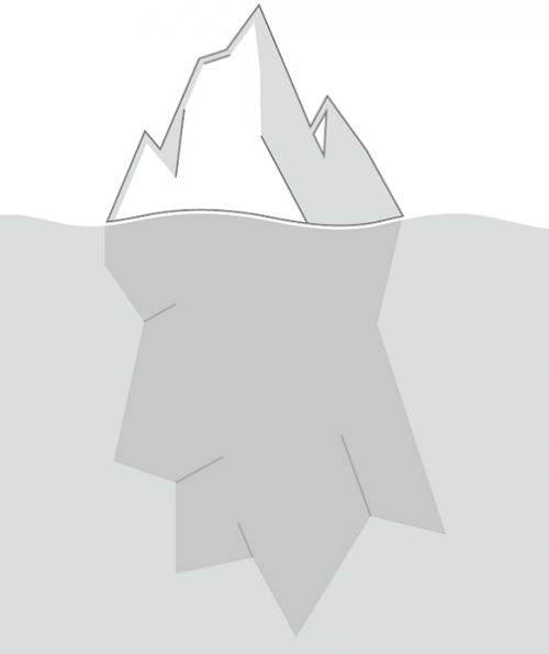 A grayscale rendering showing an iceberg above and below the water line.