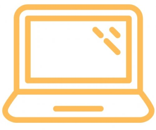Orange and white rendering of a laptop computer.