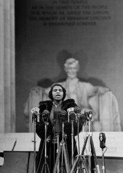 Marian Anderson, African American opera singer, performs for an estimated crowd of 75,000 on the steps of the Lincoln Memorial in 1939.