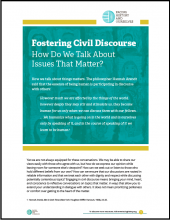 Fostering Civil Discourse: How Do We Talk About Issues That Matter?