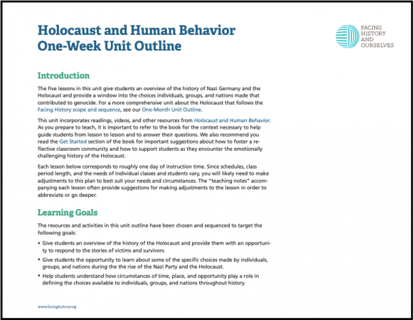 Holocaust and Human Behavior One Week Unit Outline