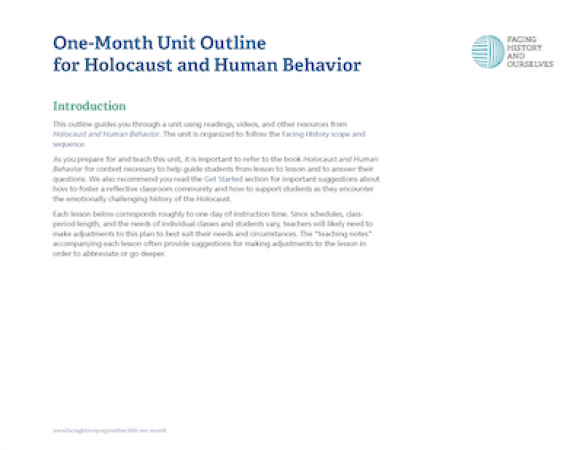One-Month Unit Outline for Holocaust and Human Behavior